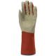 132478-80-as kertészkesztyű, vinyllel impregnált  pamut tenyér, gumis pamut kézhát és 15 cm hosszú mandzsetta (piros/szürke)