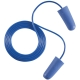 Earline kék, zsinóros, lekerekített hengeres füldugó beépített fémgolyóval (SNR 37dB)