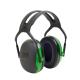 Peltor X1A elektromosan szigetelt zöld fültok hagyományos fejpánttal (SNR 27 dB)