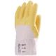 3801-es  Mártott, érdesített latex kesztyű  Sárga krepp latex merev mandzsettás, vágás-, csúszásbiztos