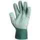 4145-ös Zöld vászon kertészkesztyű  pettyezett tenyérrel, férfi méret
