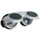 Revalux   alumínium keret védett szellőzőlyukakkal, felhajtható, sötét kerek üveggel