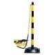Tartóoszlop lánchoz, 90 cm magas, vízzel tölthető talppal sárga-fekete