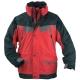 ICEBERG piros/fekete vitorlázókabát, PVC-vel vízhatlanított poliészter alapanyag, 3 az 1-ben (pulóver+dzseki+kabát)