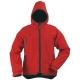 YIN piros, cipzáros, kapucnis pulóver, 310 g/m2 softshell anyag