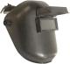 7704 fejpajzs, felhajtható üvegű, hőálló poligropilén anyag, állítható fejpánt biztonsági csattal