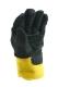 Marha hasítékbőr tenyerű kesztyű, fekete, sárga vászon kézháttal, 10,5-ös, téli, Thinsulate béléssel