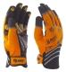 Szintetikus narancssárga mechanikai védőkesztyű, csúszásmentes tenyérrel és ujjvégekkel, fényvisszaverő betétekkel