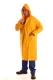 Sárga PVC hosszított esőkabát kapucnival