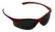 UV-szűrős polikarbonát szemüveg sötét lencsével, piros kerettel