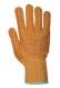 Cikkcakkos kesztyű, narancs, pamut-poliészter, PVC