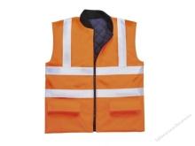 Jól láthatósági kifordítható mellény, narancs, 100% poliészter (190g) PU bevonattal 300D Oxford szövés EN471 tanúsítás